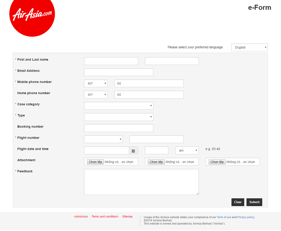 Bảng khai hoàn thuế sân bay AirAsia