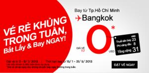 Vé máy bay Airasia: Sài Gòn - Bangkok 0 đồng