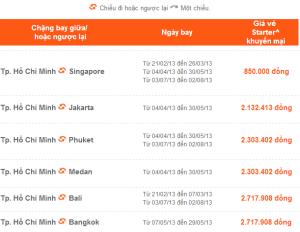 Bảng giá vé máy bay Jetstar
