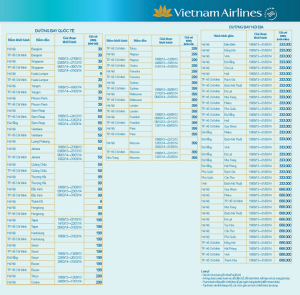 bang gia ve may bay khuyen mai vietnam airlines