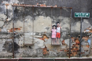 tranh nghe that duong pho o penang malaysia