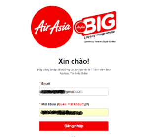 Đăng nhập tài khoản AirAsia Big