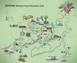 Bản đồ Alishan - nên liên hệ trung tâm du lịch để được lấy bản đồ mới nhất