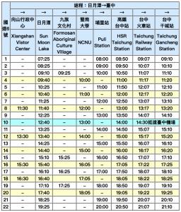 Lịch xe chạy tuyến Hồ Nhật Nguyệt - Đài Trung